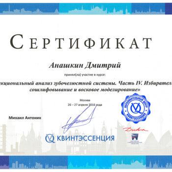 Анашкин Дмитрий Юрьевич. Сертификат